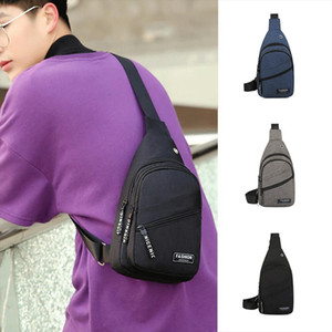 Fashion Mens Casual Outdoor Letter Shoulder Bag Sling Chest Pack Canvas USB Charging Sports Travel Crossbody Waist Bags