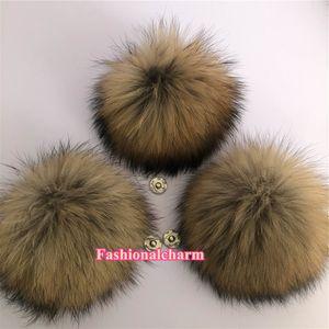 "15cm 6"" Large Soft Real Raccoon Fur Pompom Ball W Snap Button Shoes Hat Cap Beanie DIY"