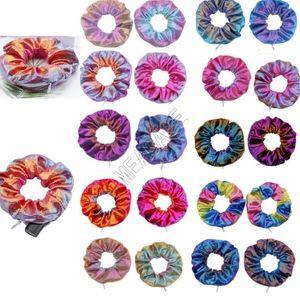 Zipper Scrunchies Color Gradient Scrunchy elastische Haar-Riegel-Seil-Frauen-Mädchen-Mode-Haarbänder Pferdeschwanz-Halter-Haar Accesseries Hot D91507