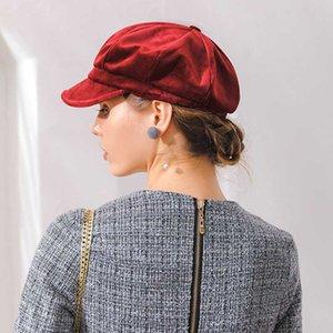 Terciopelo Beret mujeres otoño invierno octagonales Gorra de estilo Artista Pintor Newsboy Caps Negro boina roja sombreros M154