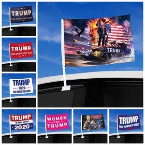 الأزياء ترامب سيارة العلم 45 * 30CM 2020 الرئاسية الأمريكية العلم النافذة ترامب الانتخابات العلم بما في ذلك سيارة سارية العلم بحر شحن DDA475