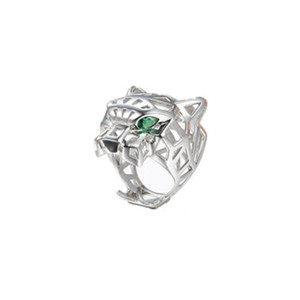 Fashion Green Zircon Eyes Hollow Leopard Cuff Finger Ring Panther Animal 3D Geometric Ring for Men Women Party Jewelry