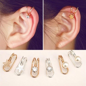 Bronzo CZ diamante orecchini del polsino dell'orecchio U forma di stella della luna Orecchini punk del nastro dell'oro placcato Donne metallo incanta il clip dell'orecchio gioielli orecchini