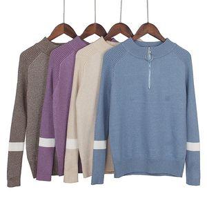 Warm GIGOGOU Lurex glitter lavorato a maglia Donne Pullover Autunno Inverno casuale outwear Jumper Top Con Donna ZIP Maglione Y200819