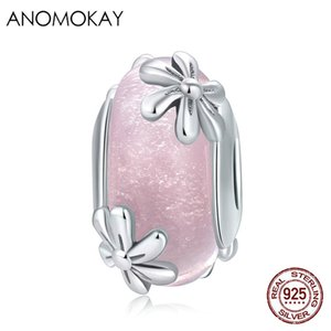 Anomokay Genuine 925 Sterling Silver Pink Flower Murano Crystal Charm Fit Brazalets S925 Plata Pink Crystal Bead