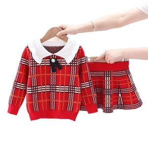 2020 new sweater girls suits fashion Boutique Girls Outfits long sleeve knitted sweater+skirts 2pcs set girls clothing retail B2165
