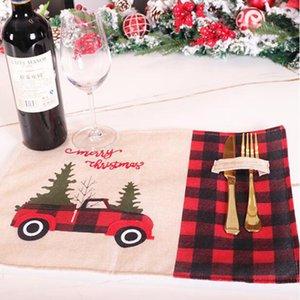 Weihnachtsbaum-Rot-LKW Tischset Tisch Mat Winter-Weihnachtsmann Buffalo Plaid Platzdeckchen Restaurants Startseite Weihnachten Tischdekoration CYZ2814 400Pcs