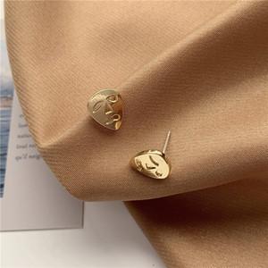 Pendientes de la perforación del oído pendiente simples Womans diseño de moda señoras de la máscara del perno elegante de la boda del color de plata de la vendimia de la aleación Brincos