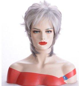 Frauen Art und Weise graue kurze glatte Haare Perücke synthteic Hochtemperatur Perücke