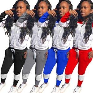 Womens jacket tracksuits cardigan outfits 2 piece set jogger sport suit sweatshirt tights sport suit women tops pants suit klw5044