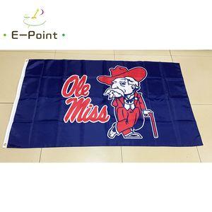 NCAA Ole Miss Rebels poliéster Bandeira três pés * 5 pés (150 centímetros * 90 centímetros) Flag bandeira decoração presentes voando jardim de casa ao ar livre
