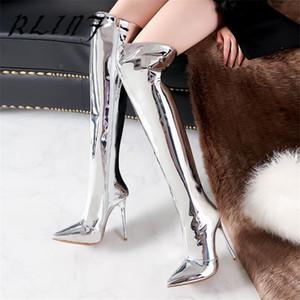 RLINF Rose Gold Parlak Gümüş Üzeri Cizme Bayan Parlak Deri Stiletto Süper Yüksek topuk