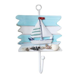 Style de crochets Décor Chambre 1pc Bateau à voile en bois Crochet Beau Séjour pour la Méditerranée Vintage szrTD bdebaby