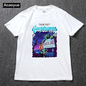 Hot Sale TRAVIS SCOTT Mens Tshirt Goosebumps Night of the Living Dummy 2 Mens and womens Tees Clothing summer hip hop top cotton t-shirt