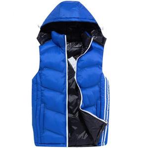 새로운 도착 망 남성 디자인 조끼 디자인 조끼 겨울 코트 태그 모자 탈착식 패션 야외 재킷 착용 의류 파카 4 색