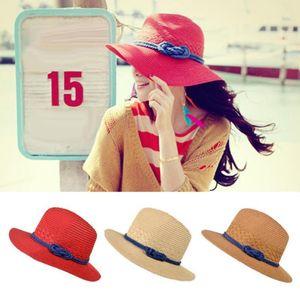 Casual viajes de ala ancha sombreros de Sun de las mujeres teje de la paja contra luz del sol del sombrero de Sun Rattan patchwork Floppy Cap playa del verano