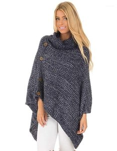Button Kniter Cape High Neck Casual Sweater Womens Designer Sweater Fashion Irregular Hem and