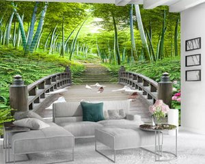 3d Modern Wallpaper Landscape 3d Wallpaper Wooden Arch Bridge Beautiful Bamboo Forest Romantic Scenery Decorative Silk 3d Mural Wallpaper