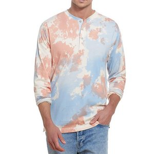 Tie Dye Tshirt Mens 2020 New Spring Summer Round Neck Streetwear Hipster T-Shirt Long Sleeve Tee Button Shirts 3 Colors