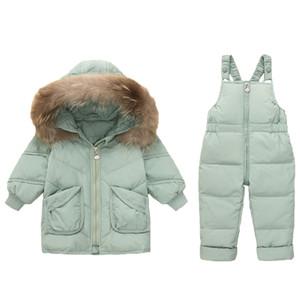 2020 réel col de fourrure hiver d'enfants Doudoune Bébés filles chaud Vêtements pour enfants Salopette d'hiver Permet de déterminer tout-petits garçons Manteau de duvet