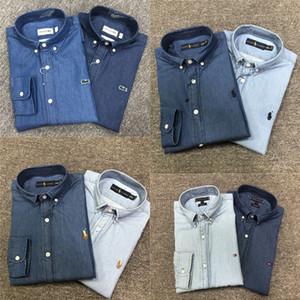 Neues Krokodil 2020 Frühlings-Herbst-Männer Denim Langarm-Shirt beiläufige Jugend dünnes Kleid Hemd Dünne Männer Jacke