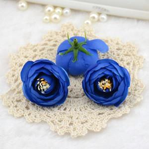 Jefes headmade Scrapbooking flores artificiales Decoración de té de la boda para 100pcs / lot de la flor de Rose Accesorios 4cm seda pequeño brote yxlBA