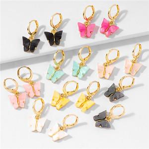 2020 New Borboleta colorida Acrílico Dangle Brincos para Declaração Mulheres Ácido Acético banhado Hoop brincos clipe jóias de Moda