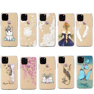 Embossed Lace macio TPU para Iphone 11 2019 Samsung Nota 10 Pro Feather Transparente Henna Branco Floral Paisley Flower Mandala Gel Cover