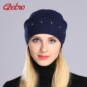 Casual Beanie sombrero del invierno de la cachemira de punto Geebro Mujeres Gorros con un brillo de diamantes de imitación señoras de Skullies gorritas capo DQ054