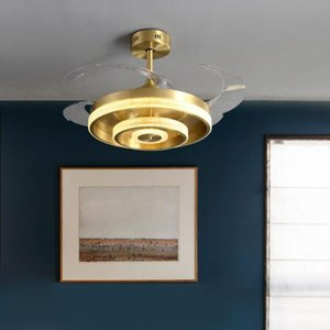 Light  copper lampshade invisible fan chandelier simple bedroom frequency conversion fan lamp