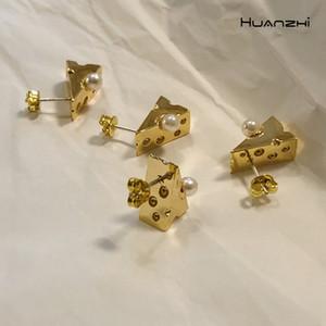Huanzhi 2020 New Retro Gold Métal irrégulière Triangle géométrique Boucles d'oreilles perle Punk Trendy pour Femmes Filles Bijoux