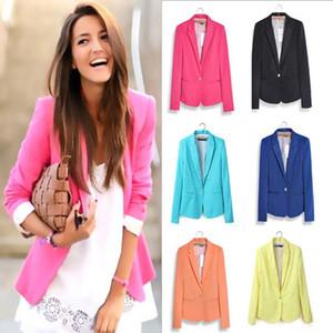 Frauen-Süßigkeit-Farben-feste Blazer Langarm Blaser Anzugjacke Weibliche Blazer Blau Gelb Schwarz Herbst Hot Verkauf
