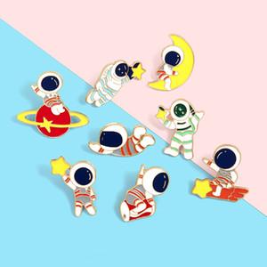 Heiße verkaufende nette kreative Serie Cartoon-Astronaut Erkundung der Mond-Mars Pin Abzeichen Brosche