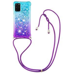 Glitter liquide Quicksand Cas de téléphone pour Samsung Galaxy S20 Ultra S10 Case Plus antichocs TPU pour Samsung Remarque 20 Pro Couverture avec Longe