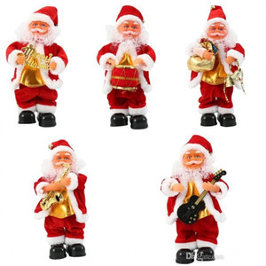 Electric Santa Claus Xmas Singing Dancing Saxophone Doll Toy Kids New Year Gift Home Desktop Ornament