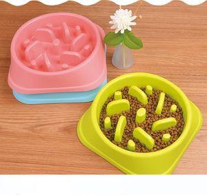 Plastic Pet Feeder Anti Choke Dog Bowl Puppy Cat Slow Down Eatting Feeder Healthy Diet Dish Jungle Design Pink Blue Green