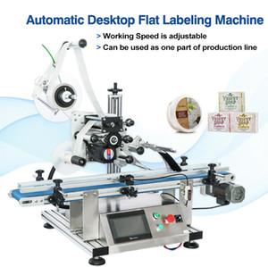 DHL Ücretsiz! Otomatik Şişe Düz Yuvarlak Yüzey Etiketleme Makinası Yapıştırıcı Sticker Etiketleme Kutular Şarap Şişesi Etiket Aplikatör Dağıtıcı