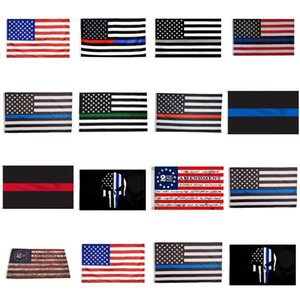 90*150cm BlueLine USA Police Flags 2nd Amendment Vintage American Flag Polyester Thin Blue Line USA Flag CYZ2819
