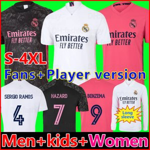 REAL MADRID maillot de foot 20 21 HAZARD SERGIO RAMOS BENZEMA VINICIUS camiseta maillot foot uniformes hommes + enfants enfant kits 2020 2021 maillots de football soccer jersey