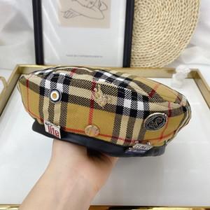 Ia1uv pertenencias privadas ~ camello a cuadros insignia insignia de la boina de la boina de la primavera británica sombrero de moda de la marca de moda de cuero de las mujeres del todo-fósforo