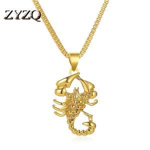 Цепи Zyzq Хип-Хоп Стиль Ретро Полое Ожерелье Хипстер Личность Имитация Золотой Скорпион Подвесной Свитер Цепь