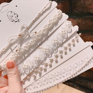 Kadınlar Moda Chokers Salkım 2020 Yeni Zarif Tatlı Peri-Style Pearl Dantel kolye kolye Bayanlar Bildirimi Takı Aksesuar