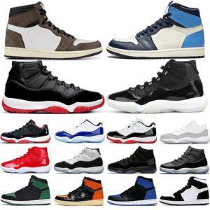 nike air jordan 11 11s 1 1s 농구 신발 Jumpman (11) 11S 자란 25 주년 콩코드 높은 OG 흑요석 로얄 발가락 UNC 넥타이 염료 남성 여성 운동화 크기 36-47를 1S