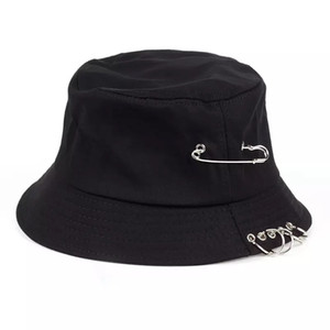 New Arrivals Time-Limited Designers Cross-Border Spring and Autumn New Korean Style Pin Ring Iron Hoop Fisherman Hat Men and Women Bucket