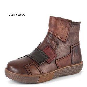Nuevo clásico del color del encanto de costura 100% natural del cuero auténtico mujeres de las botas gruesas botas zapatos de plataforma inferior otoño tobillo