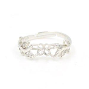 S925 Серебряного кольца аксессуары Hollow Pearl Ring Оправа Аксессуары Diy Регулируемого лист Полуфабрикаты монтирует продукт