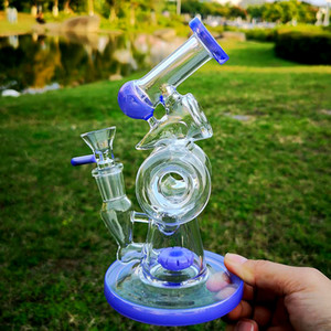 7 Inch Unique Glaaa Bongs Double Recycle Perc Water Pipes 14MM Joint Slitted Donut Perc Dab Rigs Beaker Bong With Sidecar
