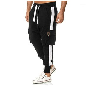 Spring Autumn Mens Striped Casual Pants with Pocket Drape Straight Wide Leg Malt Trousers Designer Men Pants