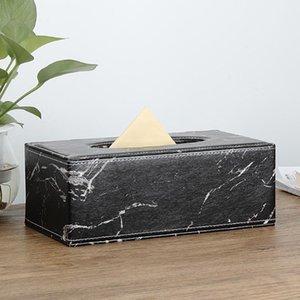Moonhouse Modern Marble Rectangle Faux Leather Tissue Box Napkin Toilet Paper Holder Case Dispenser Home Decoration