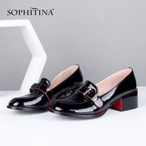 SOPHITINA New Damenschuhe Komfortabler Platz Heel Metall Dekoration Schnalle Freizeit Lackleder Loafers Dame Pumps PC650 200923